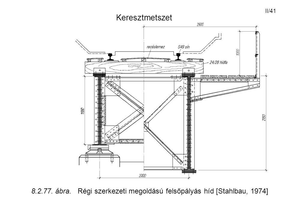 Keresztmetszet 8.2.77. ábra. Régi szerkezeti megoldású felsőpályás híd [Stahlbau, 1974]